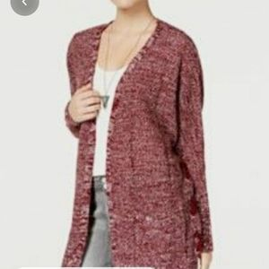 Hippie Rose Lace Up Open Front Cardigan Sweater